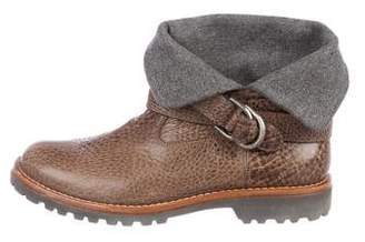 Brunello Cucinelli Leather Buckle Ankle Boots