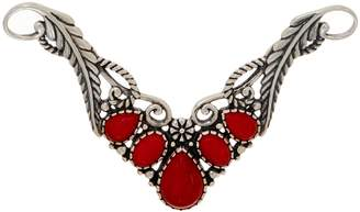 American West Sterling Silver Red Coral Leaf Necklace Insert