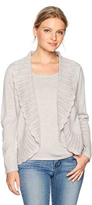 Napa Valley Women's Petite Lurex Long Sleeves Twofer Pullover with Scalloped Cardigan,PL