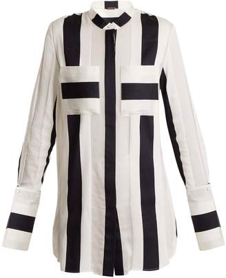ADAM by Adam Lippes Striped-jacquard cotton-blend shirt