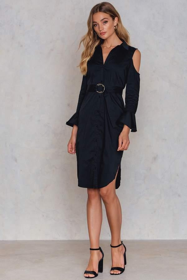 Glamorous Cold Shoulder Waist Belt Dress Shop Playsuitsandmore