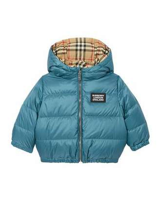 Burberry Boy's Rayan Check Reversible Puffer Coat, Size 12M-2