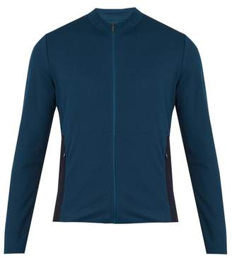 Aeance - High Neck Contrast Panel Jersey Jacket - Mens - Navy Multi