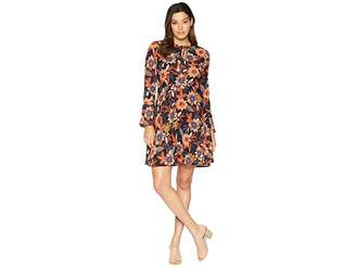 ECI Tie Neck Long Sleeve Printed Floral Chiffon Fit and Flare Dress Women's Dress