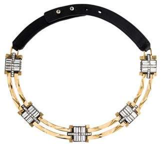 Lanvin Crystal & Leather Choker Necklace
