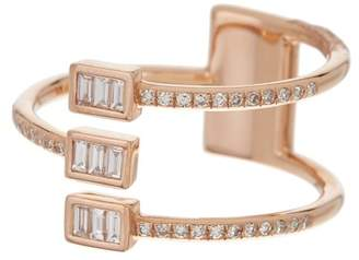 Ef Collection 14K Rose Gold Triple Baguette Diamond Twist Ring - Size 6 - 0.10 ctw