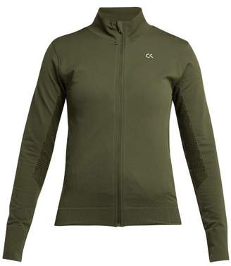 Calvin Klein Seamless Zip Through Performance Jacket - Womens - Khaki Print