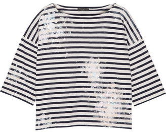 J.Crew - Painted Striped Cotton-jersey Top - Midnight blue $50 thestylecure.com