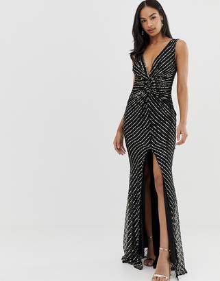 981fb19ba5666 City Goddess thigh split maxi dress with sequin detail