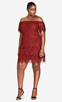 City Chic Ruby Lace Off Shoulder Dress