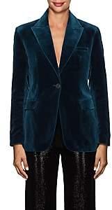 Osman Women's Tabby Cotton Velvet One-Button Blazer-Turquoise
