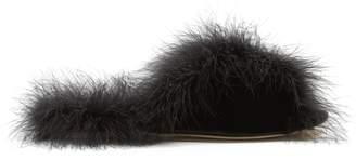Simone Rocha Feather-trimmed velvet slides