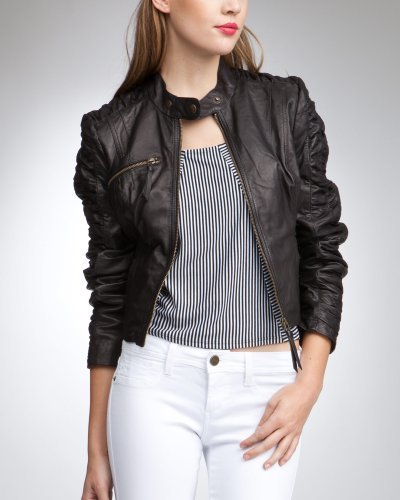 Gathered Sleeve Leather Jacket