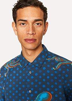 Paul Smith Men's Classic-Fit Navy Cotton And Linen-Blend 'Octopus' Print Short-Sleeve Shirt