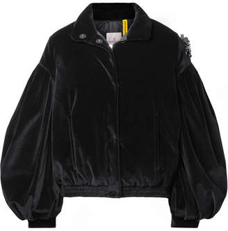 Simone Rocha Moncler Genius - 4 Appliquéd Quilted Cotton-velvet Down Jacket - Black