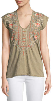 Johnny Was Calida Scoop-Neck Embroidered Tee