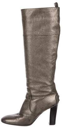 Tod's Metallic Leather Knee-High Boots