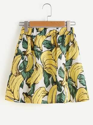 Romwe Banana Print Skirt