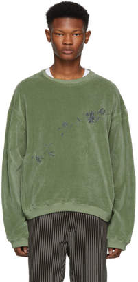 Haider Ackermann Green Floral Embroidered Sweatshirt