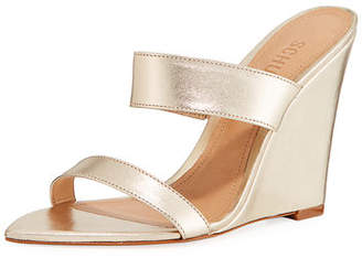 Schutz Soraya Leather Wedge Slide Sandals
