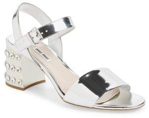 Miu Miu Crystal Embellished Block Heel Sandal