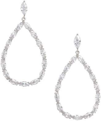 Cezanne Silvertone Crystal Open Teardrop Earrings