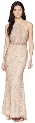 Adrianna Papell Petite New Beaded Blousson Halter Gown Women's Dress