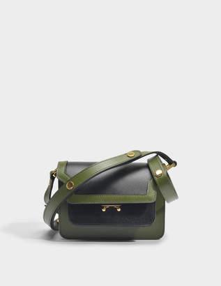 Marni Mini Trunk Bag in Black and Olive Green Saffiano Leather