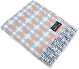 Heating & Plumbing London Merino Lambswool Throw Blue With Orange Checks