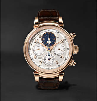 IWC SCHAFFHAUSEN Da Vinci Perpetual Calendar Chronograph 43mm 18-Karat Red Gold And Alligator Watch
