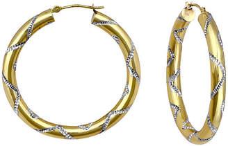 FINE JEWELRY 14K Two-Tone Gold Etched Hoop Earrings