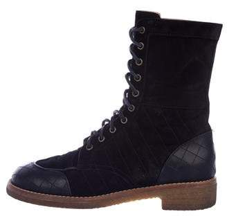 Chanel CC Quilted Combat Boots