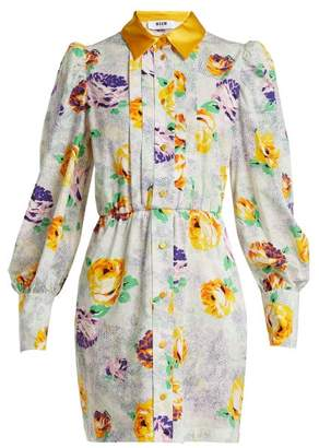 MSGM Floral Print Cotton Shirtdress - Womens - White Multi