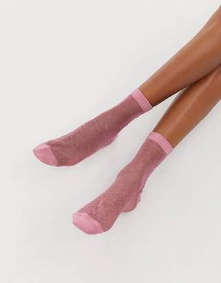 Asos Design DESIGN sheer glitter ankle socks