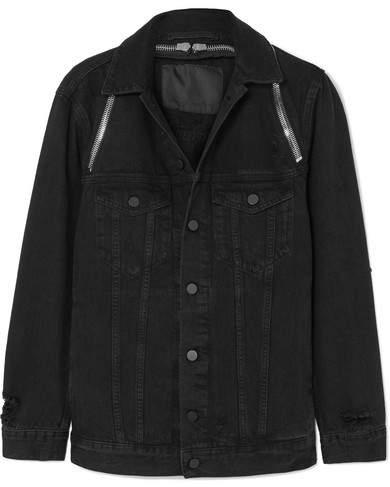 Daze Zip-detailed Denim Jacket - Black