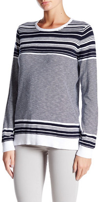 VINCE. Graphic Stripe Cotton Slub Crew Neck Sweater $155 thestylecure.com