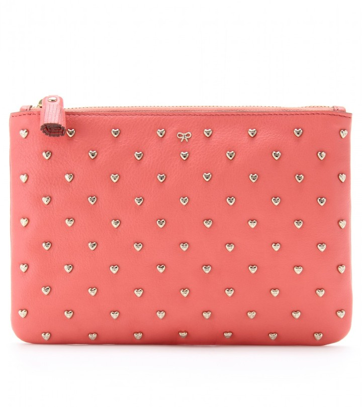 Anya Hindmarch JOSS HEART STUDDED ZIP TOP LEATHER CLUTCH