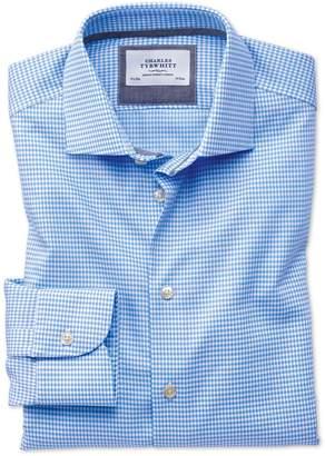 Charles Tyrwhitt Slim Fit Semi-Spread Collar Business Casual Non-Iron Modern Textures Sky Blue Cotton Dress Shirt Single Cuff Size 15/33