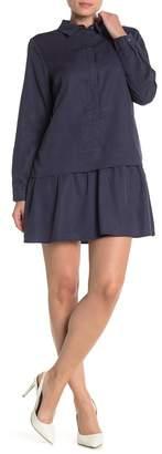 FRNCH Dot Print Flounce Hem Shirt Dress