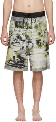Prada Green and Grey Beach Feather Swim Shorts