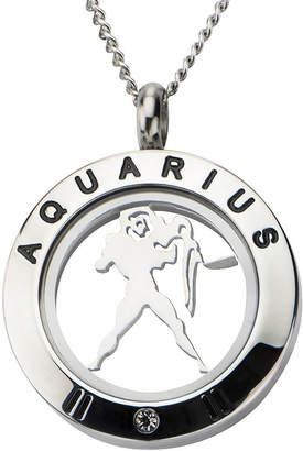 JCPenney FINE JEWELRY Aquarius Zodiac Cubic Zirconia Stainless Steel Locket Pendant Necklace