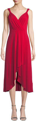 Donna Karan Sleeveless Wrap-Front High-Low Dress