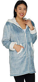 Cuddl Duds Frosted Fleece Zip-Up Robe withSherpa Trim