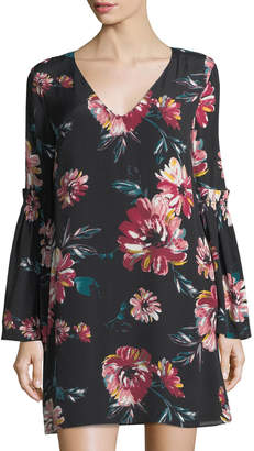 1 STATE 1.State Floral Bell-Sleeve Shift Dress