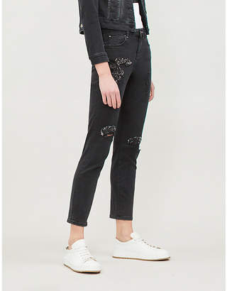 Ted Baker Yannah ripped skinny mid-rise jeans