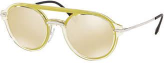 Prada Men's Round Mirrored Plastic Brow-Bar Sunglasses