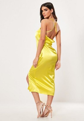 Missguided Yellow Satin Cross Back Midi Dress