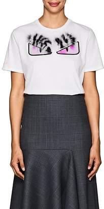 Fendi Women's Bag Bugs Fur & Cotton T-Shirt