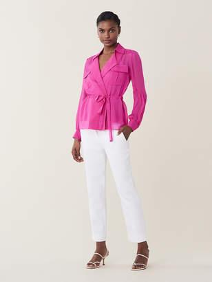 Diane von Furstenberg Joanna Silk-Chiffon Drawstring Shirt