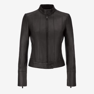 Bally Nappa Café Racer Biker Jacket Black, Women's lamb nappa leather biker jacket in black